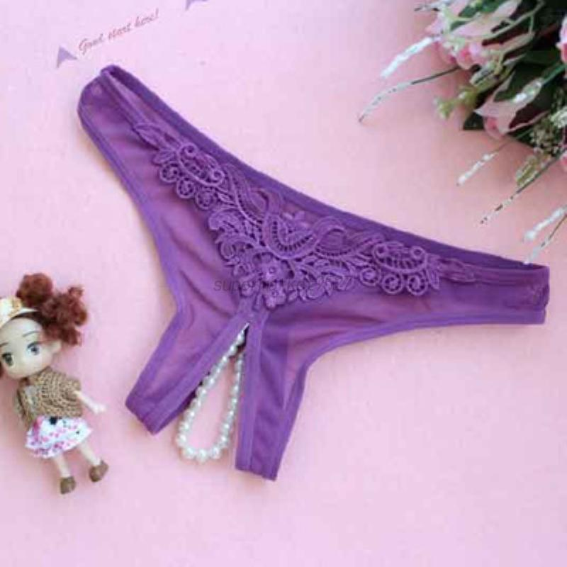 Women-Sexy-Open-Crotch-Lingerie-G-String-Crotchless-Pearl-Thong-Panty-Underwear