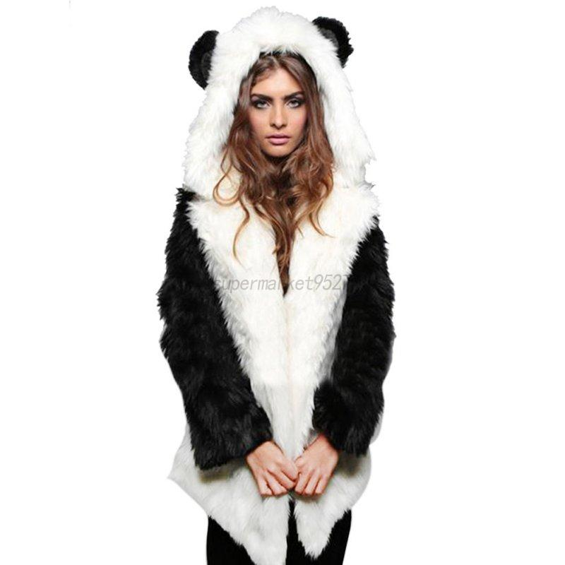 US Women Winter Cat Ears Faux Fur Parka Jacket Long Hooded Outwear ...