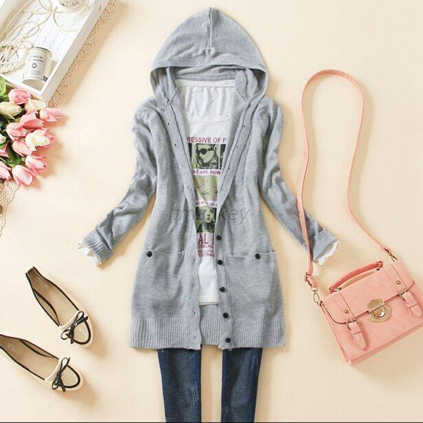 Hot Womens Knitted Hooded Sweater Cardigan Long Sleeve Knitwear ...