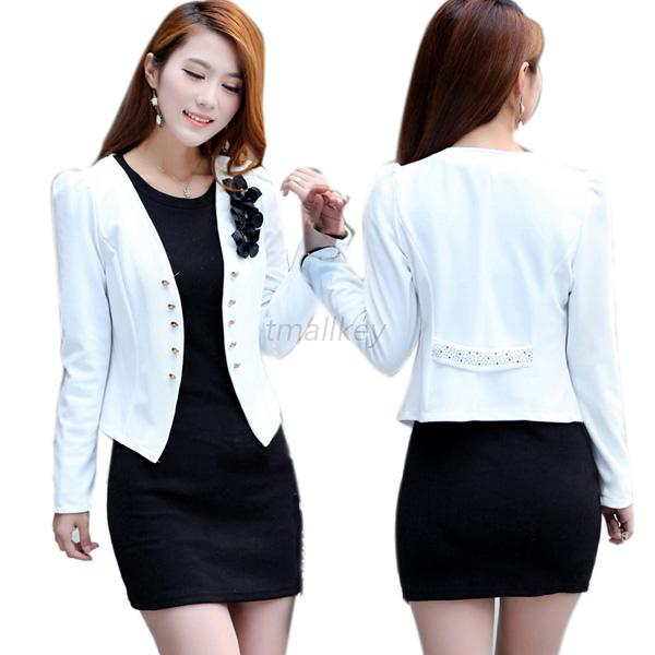 Women Thin Long Sleeve Jacket Tops Ladies Formal OL Suit Short ...