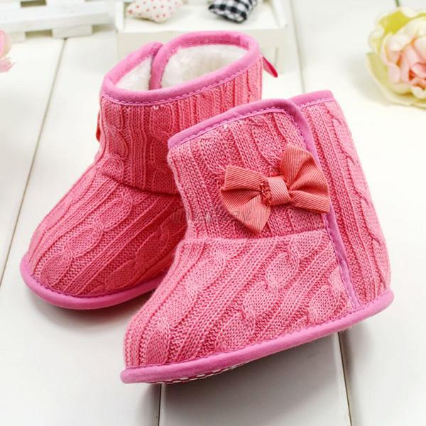 Newborn Infant Baby Girl Knited Boots Toddler Bowknot Cozy