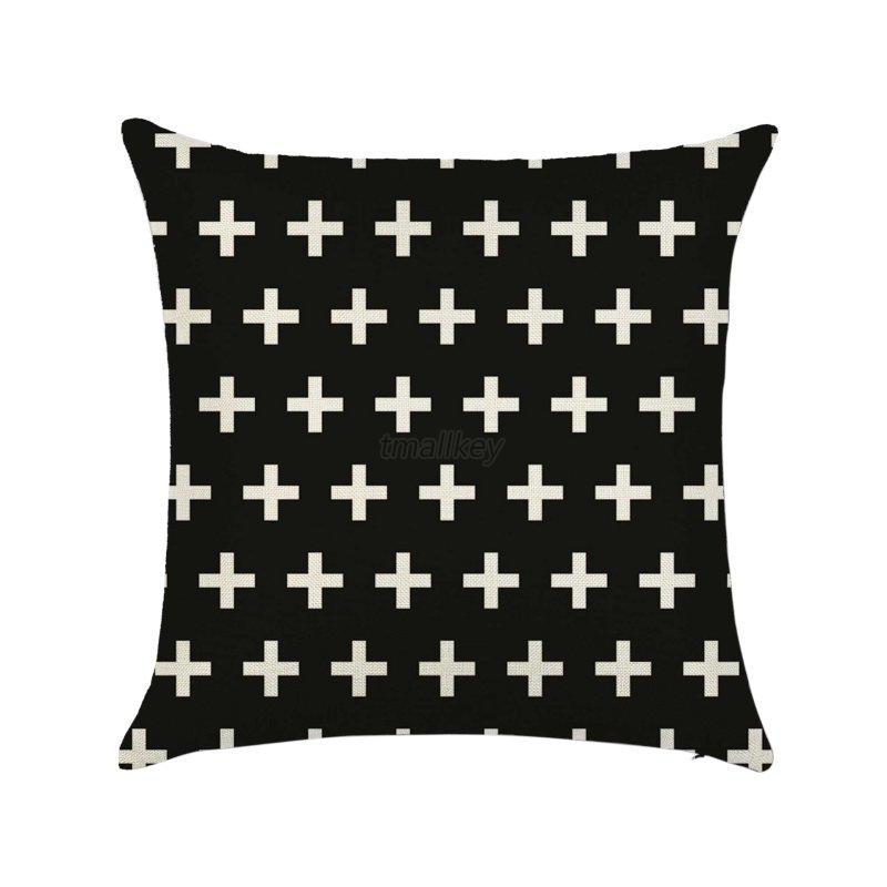 Retro Black & White Cotton Linen Throw Cushion Cover Pillow Case Home Decor eBay