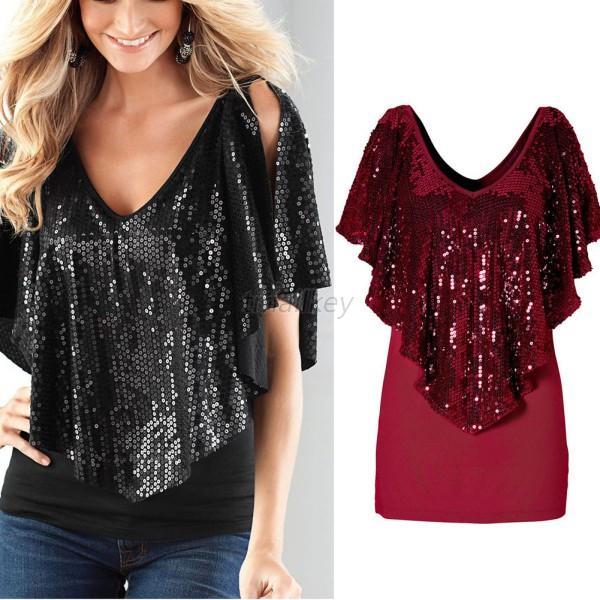 411832fb08eca4 Women Sequin Sparkle Glitter Shirt Short Sleeve Tank Top Party T ...