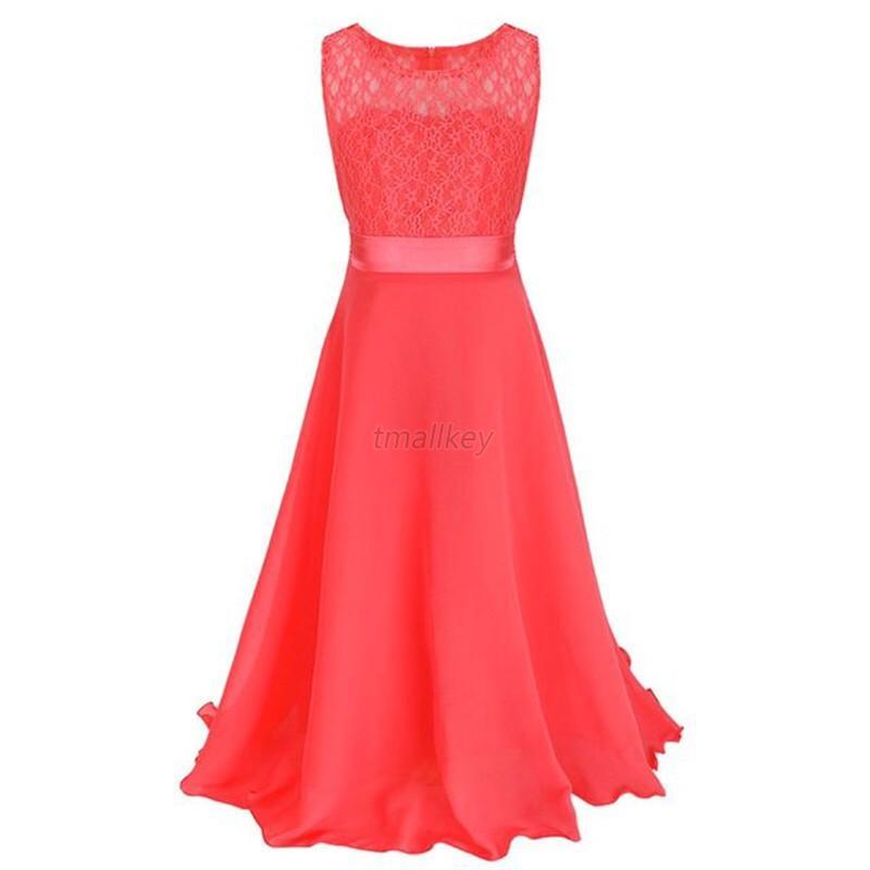 Formal-Girl-Bridesmaid-Dress-Junior-Lace-Flower-Dress-Princess-Pageant-Lace-USA thumbnail 20