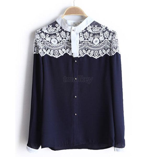 Lace Floral Women Chiffon Shirt Tops Button Down Long Sleeve Loose Ladies Blouse