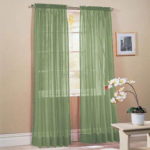 Rods Scarf Sheer Window Curtain Drapes Panel Single