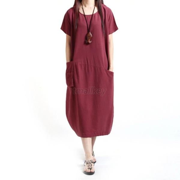 Plus-Size-Women-Casual-Loose-Dress-Cotton-Linen-Ethinc-Beach-Dress-Sundress-AU