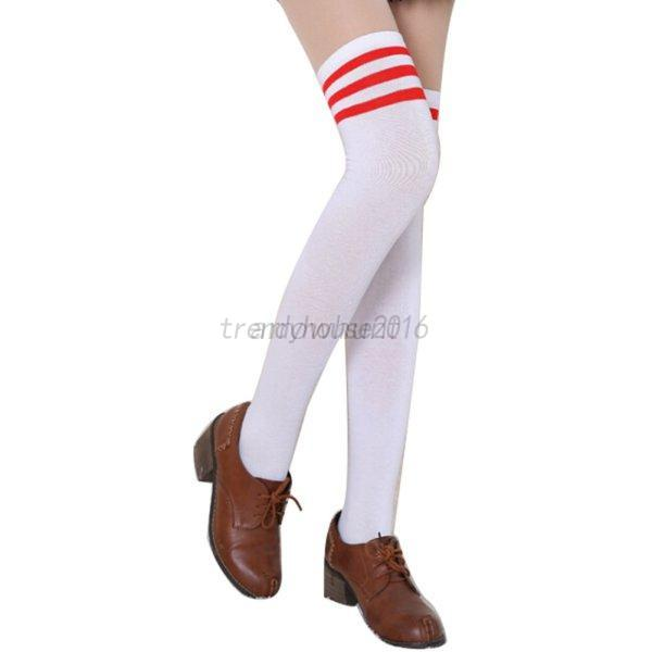 AU-Women-Over-The-Knee-Socks-Lady-Plain-Striped-High-Thigh-Stockings-Long-Socks