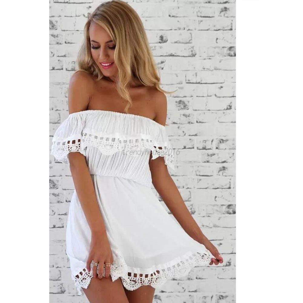 Women-Off-shoulder-Bridesmaid-Wedding-Party-Cocktail-Lace-Maxi-Short-Dress-Tops
