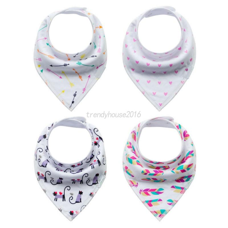 4Pcs-Baby-Feeding-Bibs-Kids-Bandana-Saliva-Towel-Dribble-Triangle-Cotton-Set