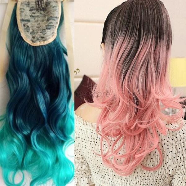 Chic 53cm Ombre Mixed Color Long Wavy Curly Ponytail Hair Extension