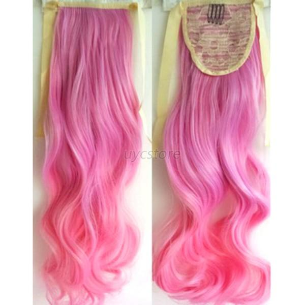 Stylish Ombre Mix Color 53cm Long Wavy Curly Ponytail Hair Extension
