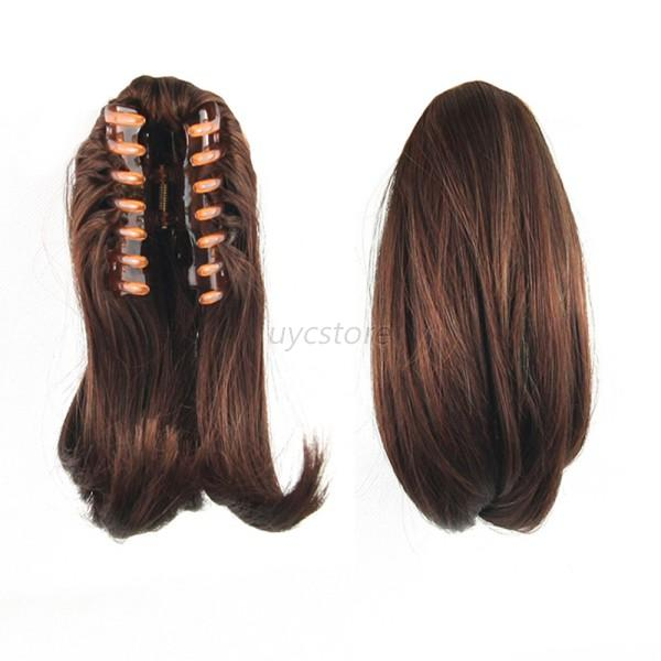 New Straight Butterscotch Claw Clip Po Nytail Clip On Hair Piece Pon