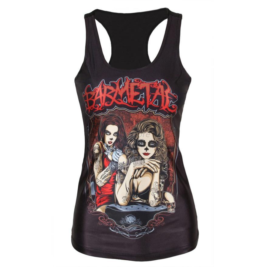 Women Sleeveless Vest Tank Printed Tops Blouse Gothic Punk Club Party T-Shirt