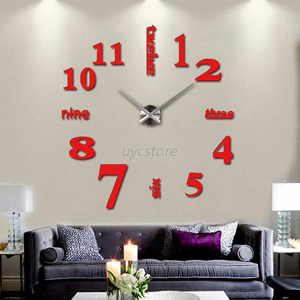 Uk diy 3d large number mirror wall clock