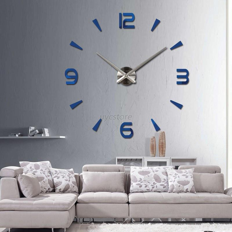 Modern diy large 3d number mirror wall sticker watch home for Large 3d wall art
