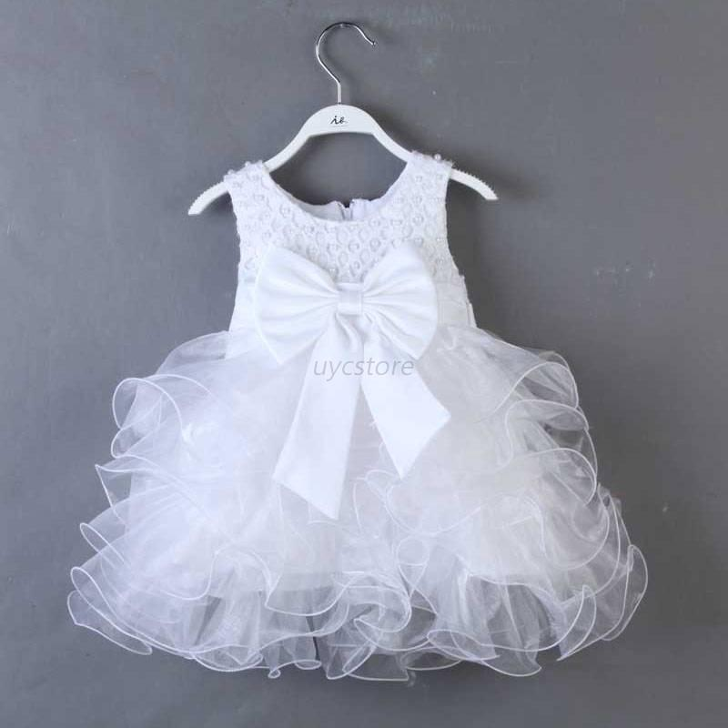 Baby toddler girl clothes bowknot princess wedding party for Toddler dress for wedding