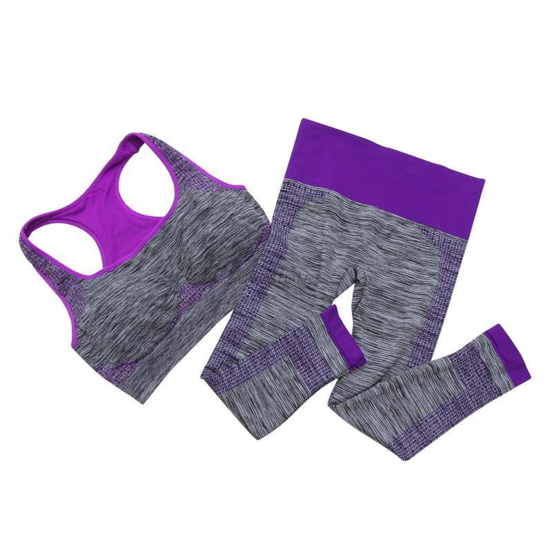 Women Yoga Fitness Seamless Bra+Pants Leggings Set Gym Workout Sports Wear Hot