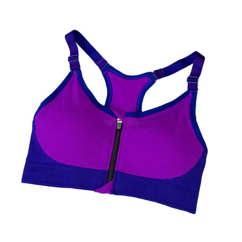 Womens Sports Bras Running Yoga Pants Dance Gym Tank Tops: Women Yoga Sports Bras Front Zip Stretch Gym Padded