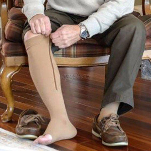 New Zipper Compression Socks Women Men Zip Knee Calf