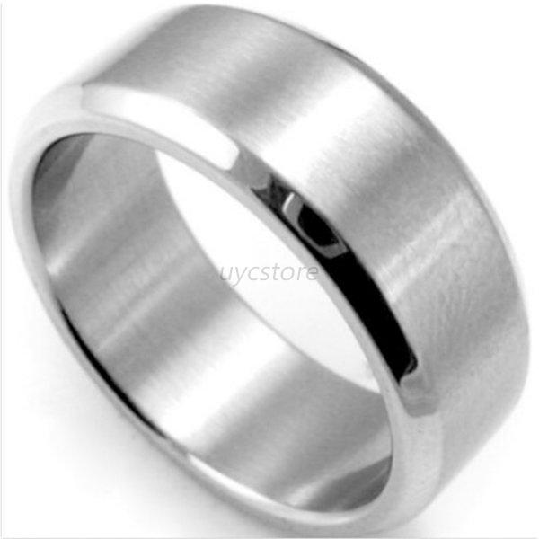 Stainless Steel Mens Wedding Band Ring 8mm: Plain Stainless Steel Men Women's Ring Wedding Band Unisex