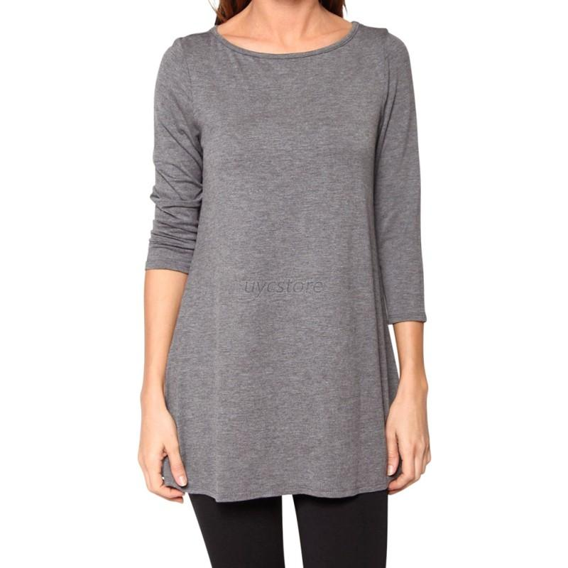 Women Boat Neck 3 4 Sleeve Warm Top Casual Loose Fit