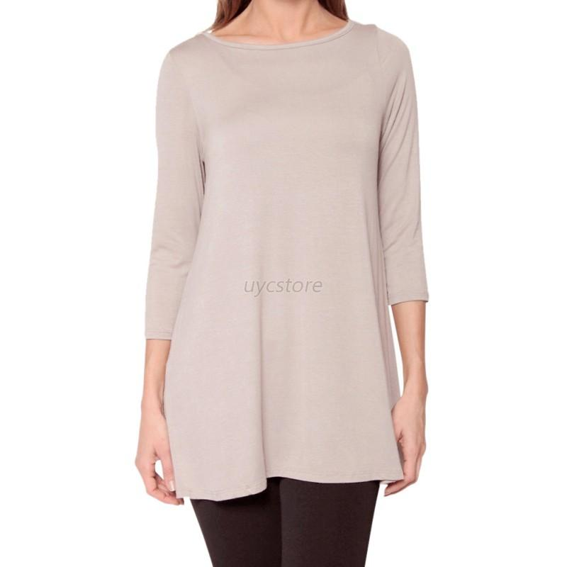 Women boat neck 3 4 sleeve warm top casual loose fit for Boat neck t shirt women s