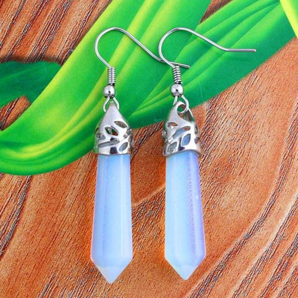 Crystal-Gemstone-Hexagonal-Point-Reiki-Chakra-Beads-Silver-Plate-Earrings-U46