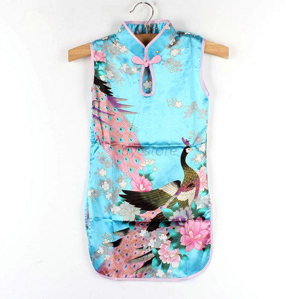 2 8y kids girls chinese qipao silk fabrics floral peacock for Childrens dress fabric