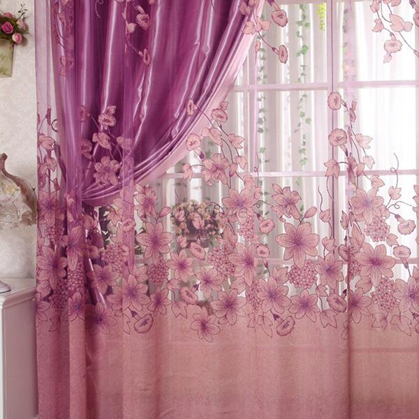 One Piece Fashion Sheer Voile Curtain Panel Scarf Window Drapes ...