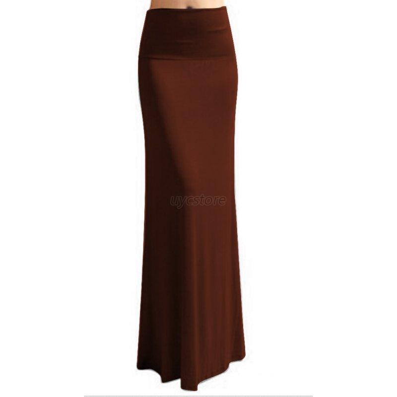 Women-Cotton-Dress-High-Elastic-Waist-Multi-Color-Bodycon-Long-Maxi-Skirt-Dress
