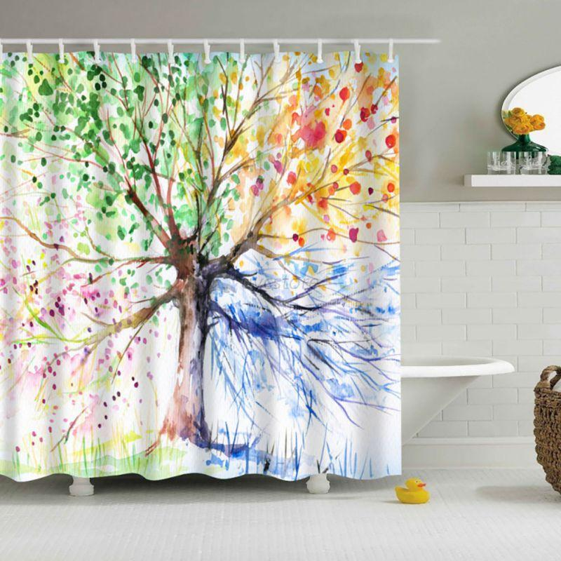 Waterproof Fabric Pattern Shower Curtain Colorful With 12 Hooks For Bathroom Ebay