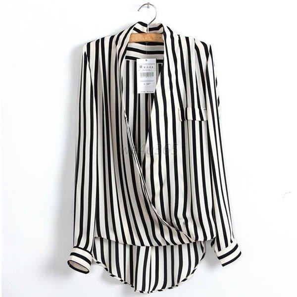 Sexy Women Lady Chiffon Shirt V-neck Long Sleeve Black ...