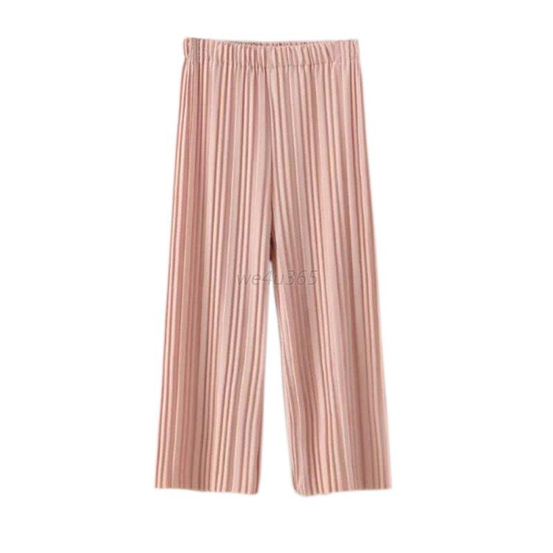 New Women S Casual Long Loose Pleated Pants High Waist