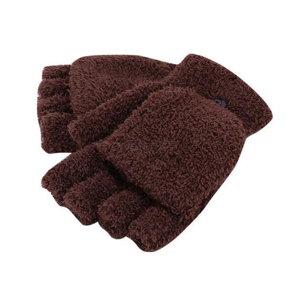 Winter Women Flip Fingerless Mittens Tops Warm Knitted