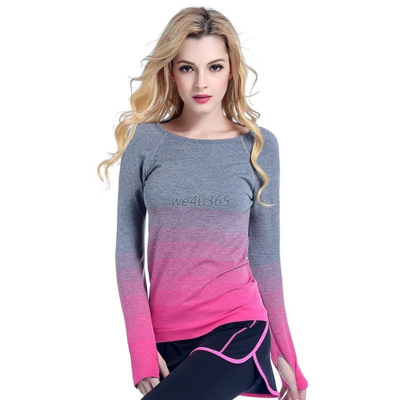 Women Gym Sports Shirt Ladies Yoga Top Fitness Running