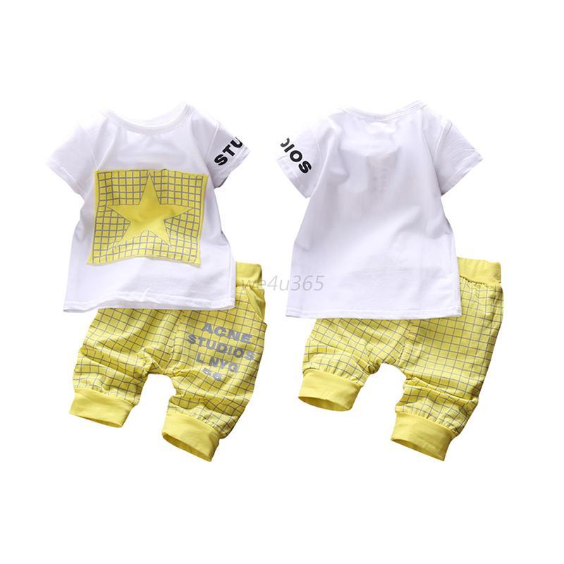 kleinkind kinder baby jungen t shirt tops hosen sommer outfit kleidung set 6m 3t ebay. Black Bedroom Furniture Sets. Home Design Ideas