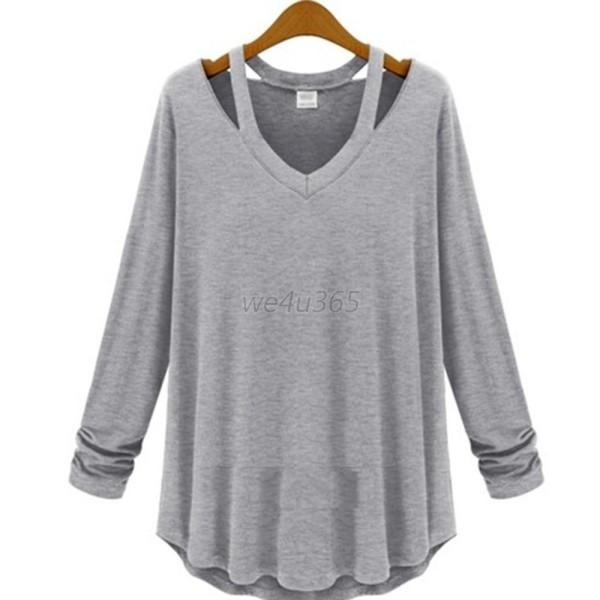 Women cotton soft long sleeve v neck loose solid casual t for Cotton shirts for womens online