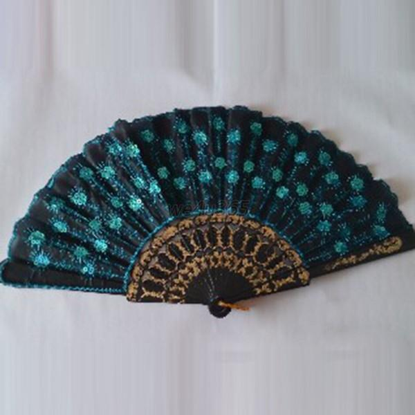 Embroidered Fabric Folding Hand Held Fan Sequins Party