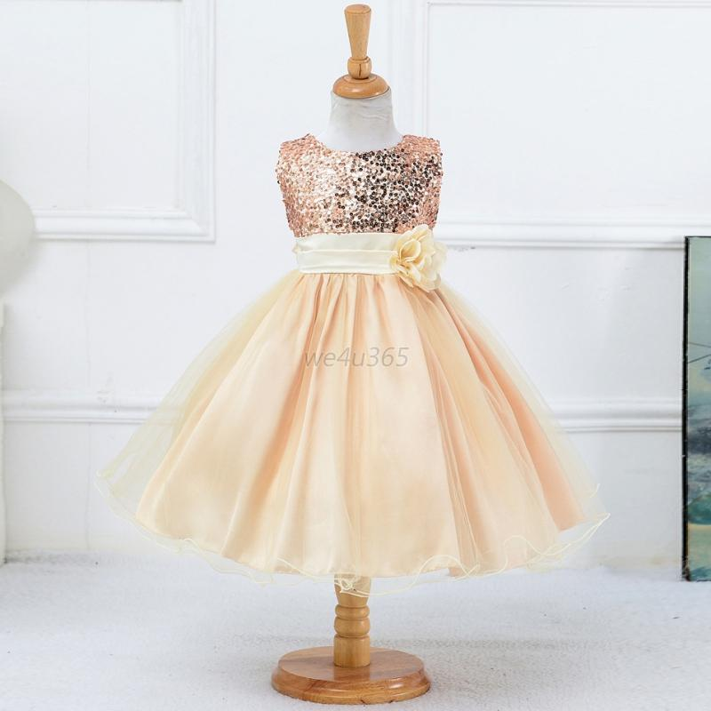 Sequins Flower Girl Princess Dress Baby Kid Party Bridesmaid Formal