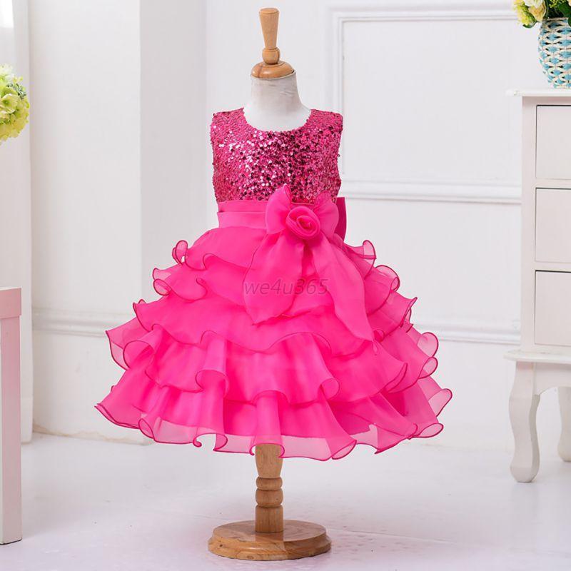 Kids Girls Sequin Flower Princess Dress Sleevless Wedding Party Tutu Dress 2-13T