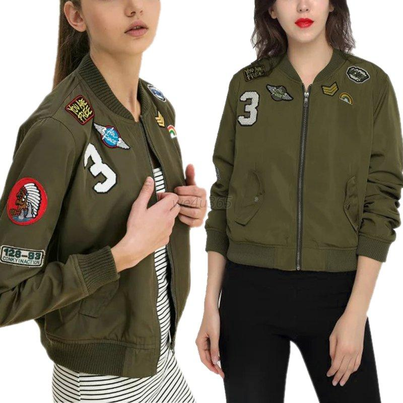 Women Bomber Jackets Flight Women Jacket Coats With Patches Army Green Autumn | EBay