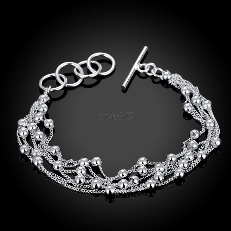 fashion women charm 925 sterling solid silver chain