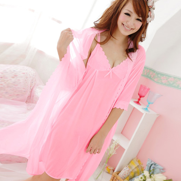 Women Pajamas Set Strap Robe Dress & Nightdress Nightgown Sleepwear ...