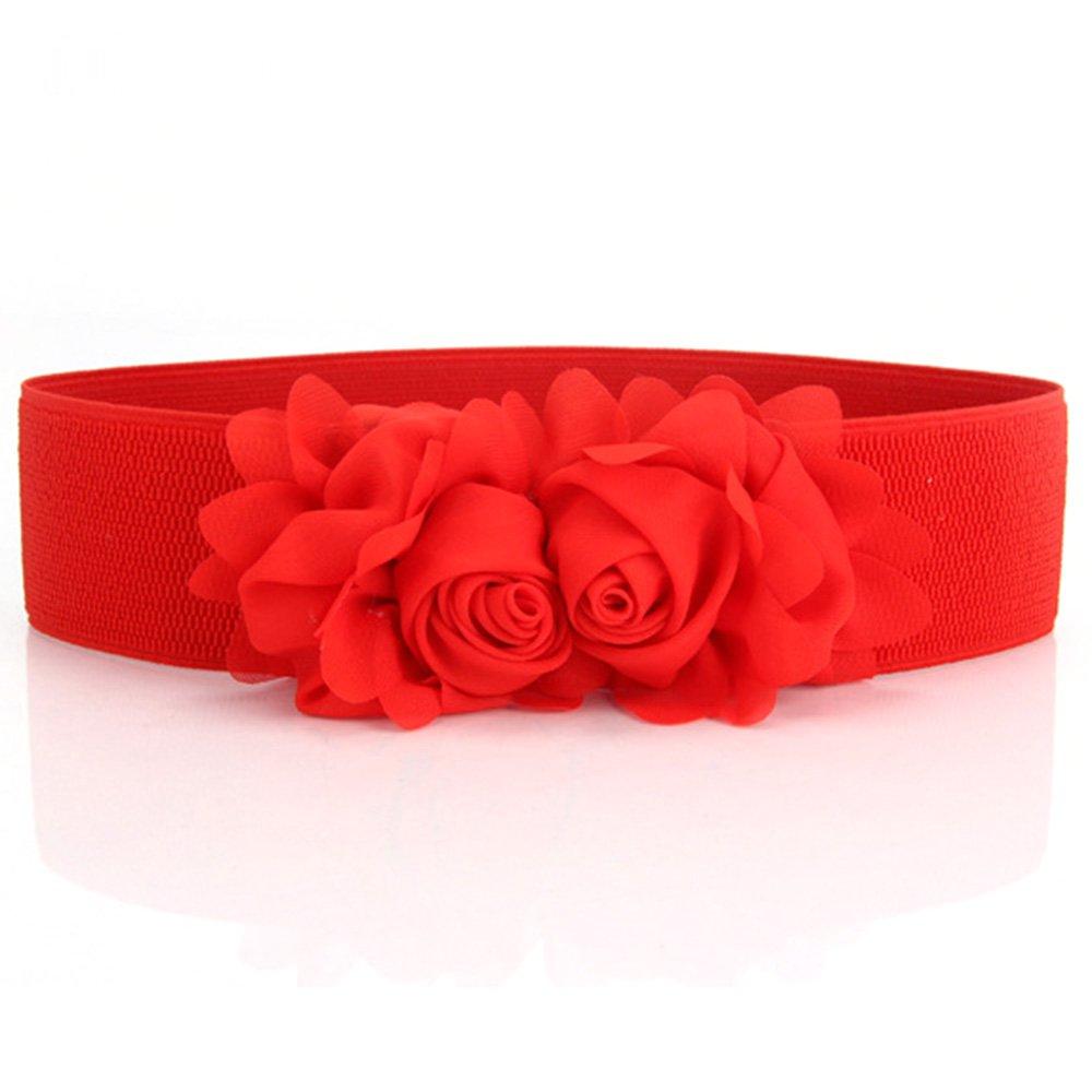 stylish womens vintage flower elastic stretch wide waist