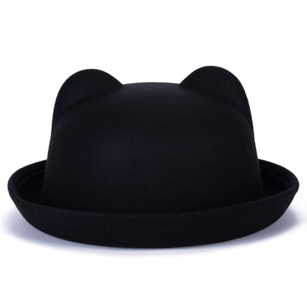 Neu Women Mens Wool Horn Parent-Child Bowler Fedora Derby Cat Ear Hat Cap Hut