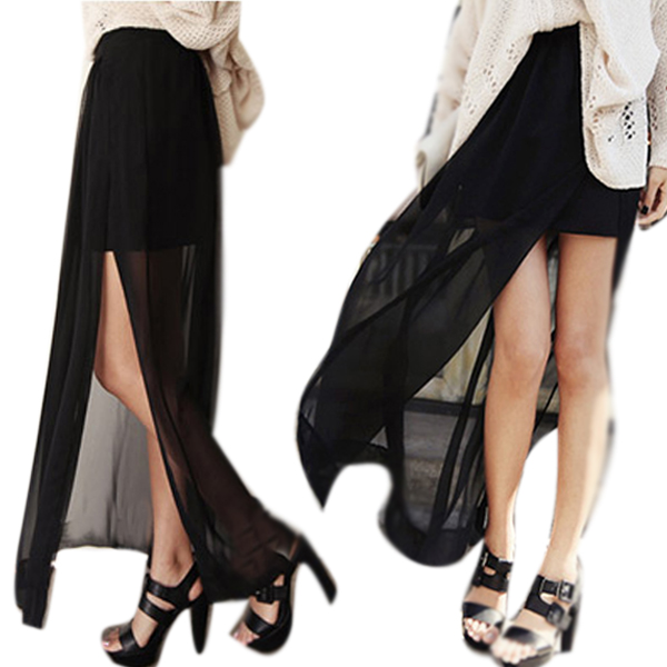 Modern Ladies See Through Maxi Long Skirt Pleated Sheer High Side ...
