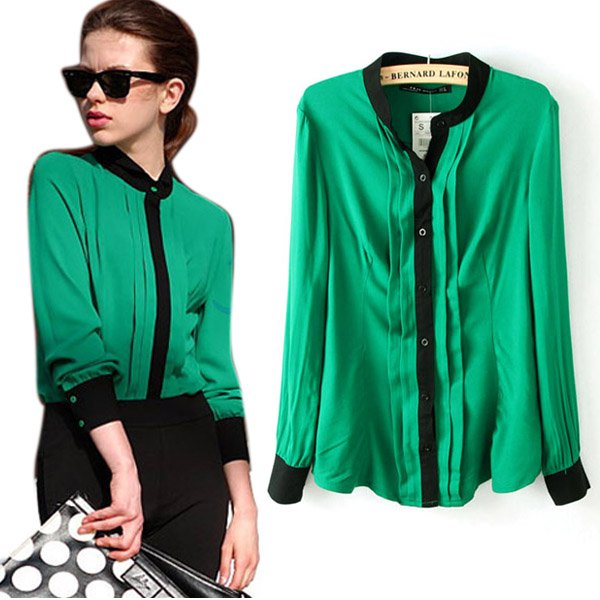 New Fashion Women Ladies Chiffon Long Sleeve Shirt Tops Blouse 20 ...