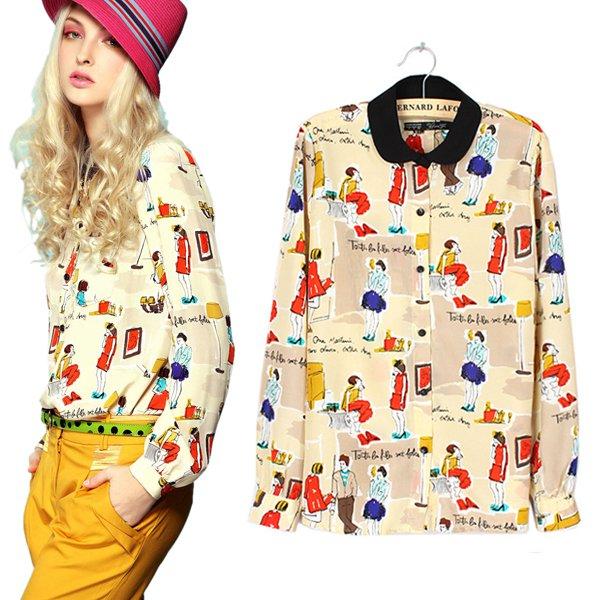 New-Fashion-Women-Ladies-Chiffon-Long-Sleeve-Shirt-Tops-Blouse-20-Style-Size-S-L
