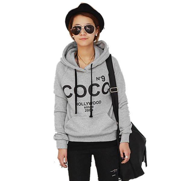 Korean Girl Hoodie COCO Jacket Coat Sweatshirt Outerwear Hooded ...